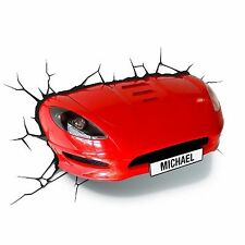 RED SPORTS CAR 3D EFFECT WALL LIGHT LAMP NEW BEDROOM DECOR