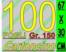 100 FOGLI BANNER STRISCIONE 67X30CM CARTONCINO BIANCO STAMPA LASER-INKJET 150GR