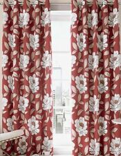 "Ashley Wilde Ready Made Curtains Issy Fully Lined Eyelets Chilli 90"" x 54"" SALE"