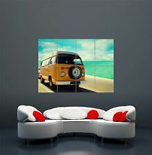 PHOTOGRAPH RETRO YELLOW CAMPERVAN BY THE SEA GIANT ART POSTER PRINT  WA451
