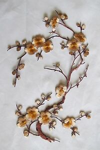 """#6767F 10-5/8"""" Brown Quince, Sakura Flower Embroidery Iron On Applique Patch"""