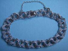 "Vintage Elco 7 1/2"" triple link box clasp sterling charm bracelet"