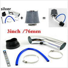 "Car Racing Cold Air Intake Pipe 3"" & Filter w/Clamp+Accessories Silver Universal"