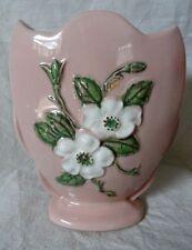Pink HULL Vase White Dogwoods  Made in USA Rosella pattern