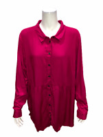 Joan Rivers Button Front Blouse with Gathered Detail Magenta 2X Plus Size