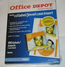 New Office Depot White Matte Inkjet Cd 100 Labels Amp Jewel Case Inserts 85x11