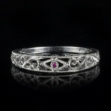 Solid 10K White Gold Tension Setting Round Rubies Anniversary Ring Wedding Band