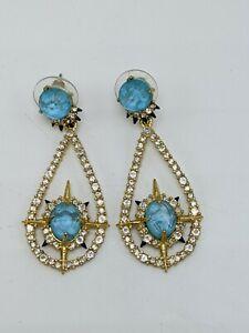"Alexis Bittar Gold-tone Aqua Blue Lucite Pave Star Dangle Earrings 2"""