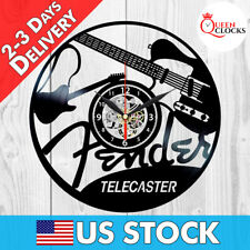 Fender Telecaster Guitar Music Black Vinyl Record Wall Clock Guitarist Best Gift