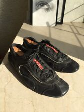 prada sneakers men 10.5IT / 11.5US black and red driving car shoes linea rossa
