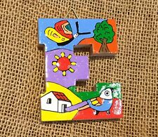 La Palma Folk Art from El Salvador Letter E Handcrafted from Recycled Wood