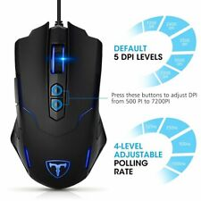PICTEK 7200 DPI Wired Gaming Mouse Programmable Ergonomic 7 Buttons Game Mice