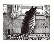 Cat Looking Out Window Kliban Cat Print Black White Vintage