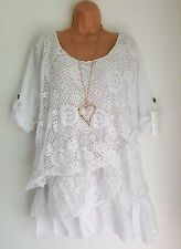 New Italian Lagenlook White Lace Mesh Top Tunic 16 18 20 22 24