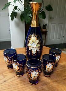 Vintage Bohemian Blue & Gold Gilded / Enamel /Flowers Glass Decanter & 5 Glasses