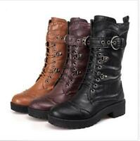 Womens Punk Gothic Lace Up Rivet Buckle Mid-Calf Combat Boots Shoes Mid Heel