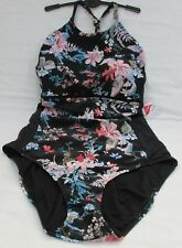 LADIES MARKS AND SPENCER BLACK MIX FLORAL HIGH NECK SWIMSUIT SIZE 20