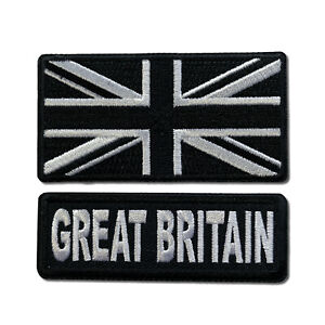 """3"""" Great Britain With Black & White UK Flag Sew or Iron on Patch Biker Patch Set"""