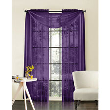 "Sheer Voile 2-Piece Purple Curtain Panel Solid Window Treatment 84"" Long New"