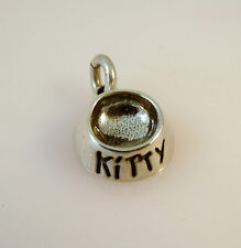.925 Sterling Silver 3-D KITTY BOWL CHARM NEW Cat Kitten Food Dish 925 CA02