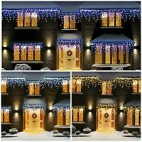 CHRISTMAS 100/180/240/360/720/1200 LED ICICLE SNOWING XMAS CHASER LIGHTS OUTDOOR