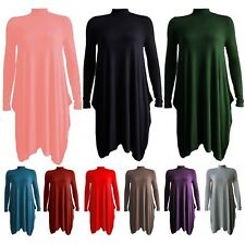 Womens Ladies High Neck Polo Turtle Neck Long Sleeve Swing Flared Skater Dress