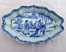 Antico esportazioni cinesi BLU PORCELLANA HP Spoon VASSOIO 雍正帝 yonzheng Qing 清代 18th C