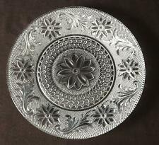 """VINTAGE Clear Pressed Glass Floral Pattern 8.25"""" Dinner, Salad, Dessert Plate"""