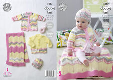King Cole Baby DK Knitting Pattern Simple Lace Coat Cardigan Blanket Hat 5083