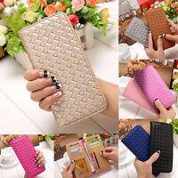 Women Ladies Leather Card Holder Case Long Wallet Clutch Weave Handbag Purse Bag