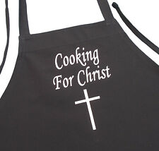 Christian Apron Cooking For Christ Black Kitchen Chef Aprons by CoolAprons