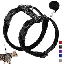 Pet Kitten Cat Walking Harness and Leash Escape Proof Bling Strap Harnesses Vest