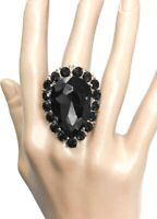 Black Teardrop Crystal Bold Classy Statement Stretchable Cocktail Party Ring