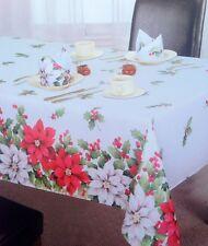 "Large Rectangular Poinsettia Christmas Tablecloth 70"" x 90(178cm x 230cm)"