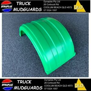 LIGHT GREEN LOW PROFILE B DOUBLE TRUCK SEMI TRAILER MUDGUARDS 19.5 INCH POLY NEW