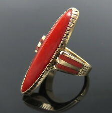 Antique Kirk Natural Untreated Ox Blood Coral & 14K Gold Navette Ring