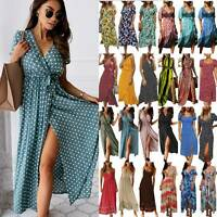 Womens Summer Boho Maxi Dress Split Beach Holiday Casual Party Evening Sundress