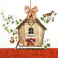 4x Carta Singola Tavola Festa Tovaglioli per Decoupage Decopatch Winter Bird House
