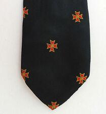 Maltese cross tie with Fleur de Lis emblem Vintage 1960s 1970s Lys