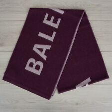 BALENCIAGA 695$ Authentic New Purple Wool Scarf With Logo 30cm x 205cm