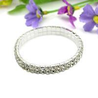 Elastic Crystal Diamond Bangle Wristband Bracelet Stretch Wedding Bridal Gifts