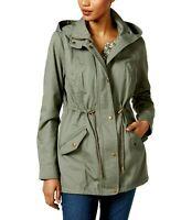 Style Co Women Jacket Green 100% Cotton Hooded Utility Pockets Snaps Size M  $99