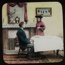 Glass Magic Lantern Slide VICTORIAN FAMILY AT TABLE NO4 C1890 PHOTO STORY SOCIAL