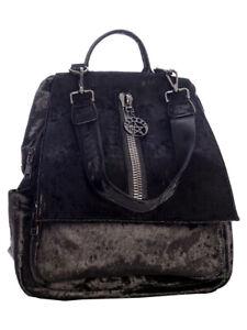 Banned Gothic Velvet Pentagram Punk Rockabilly Cheyanne Velvet Rucksack Backpack