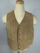 Vintage Bermans 70s Leather Suede Vest Jacket Shirt Size 48 XL Dress Brown