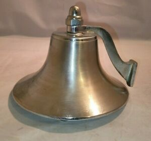 """Vintage Metal Captains Ships Bell 6 x 4.5"""" Silver"""