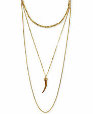 $68 Vince Camuto Horn Gold Tone Multi Strand Layered Necklace C501431 NEW