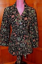 Johnny Was 3J Workshop BIYA Embroidered Belted Black Jacket Coat Blazer M L $229