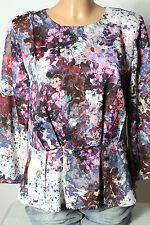 H&m Chemisier taille 38-40 Multicolore Fleurs Satin Chemisier dans Schößchen forme
