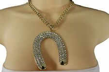 Women Gold Over Size Luck Charm Metal Chain Jewelry Western Horseshoe Necklace